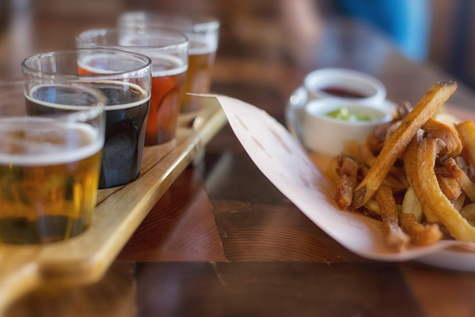 flight of beers and fries for the web
